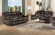 Acme 55020-21 2 pc Copper grove mudiyah zubaida 2 tone chocolate velvet power motion ends sofa and love seat set