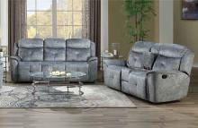 Acme 55030-31 2 pc Mariana silver gray fabric sofa and love seat set with recliner ends