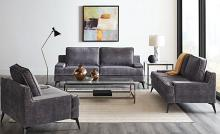 550941-42 2 pc Gracie oaks tyndall mattie charcoal grey velvet fabric sofa and love seat set