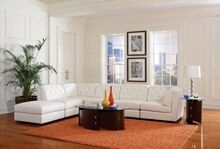 551021-22-23 6 pc quinn collection white bonded leather upholstered modular sectional sofa set with tufted backs