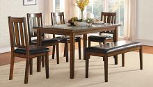 Homelegance 5511-6PC 6 pc Darby home co delmar espresso finish wood dining table set with bench