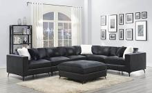 551391 7 pc Schwartzman charcoal velvet fabric feather blend wrap modular sectional sofa