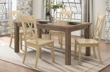 Homelegance 5516-66-MS 5 pc Canora grey Janina natural finish wood dining table set buttermilk color chairs