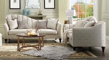 Acme 55305-06 2 pc Gracie oaks highbridge athalia shimmering pearl fabric sofa and love seat set