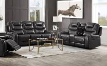 Acme 55410-11 2 pc Red barrel studio braylon dark gray faux leather sofa and love seat set recliner ends