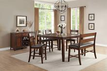 Home Elegance HE-5547-36-6PC 6 pc Mantello cherry finish wood counter height dining table set with bench