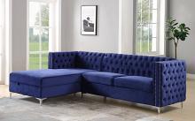 Acme 55490 Mercer 41 sullivan blue velvet fabric sectional sofa with storage chaise