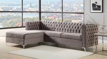 Acme 55495 Mercer 41 sullivan grey velvet fabric sectional sofa with storage chaise