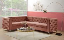 Acme 55505 2 pc Brayden studio rhett corral velvet fabric sectional sofa tufted backs