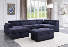 Acme 55520 4 pc Waldorf park nekoda navy blue fabric sectional sofa with chaise and ottoman