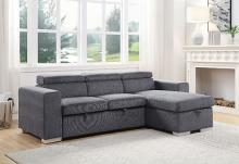 Acme 55530 Natalie drake gray fabric sectional sofa with pop up chaise with storage and sleep area