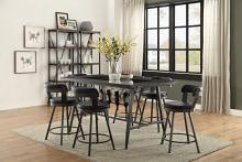Homelegance HE-5566-7PC-BK 7 pc Appert gray metal glass insert counter height dining table set black chairs