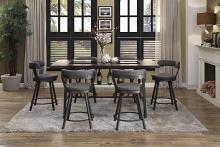 Homelegance HE-5566-7PC-GY 7 pc Appert gray metal glass insert counter height dining table set grey chairs