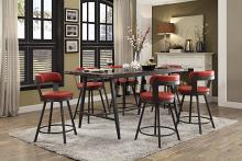 Homelegance HE-5566-7PC-RD 7 pc Appert gray metal glass insert counter height dining table set red chairs