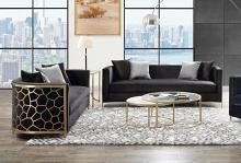 Acme 55665-66 2 pc Astoria grand fergal black velvet fabric gold metal design back accents sofa and love seat set