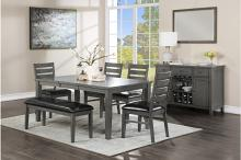 5567-6PC 6 pc Canora grey mel clary weathered grey finish wood dining table set
