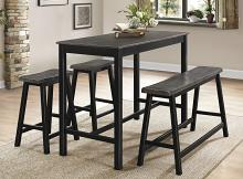 Homelegance 5578-32-4PC 4 pc Canora grey Visby two tone black and gray finish wood counter height dining table set
