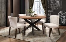 "Home Elegance HE-5597-53 5 pc Nelina espresso and natural finish wood 53"" round dining table set"