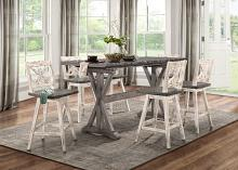 Home Elegance HE-5602-36-WH 7 pc Amsonia grey finish wood counter height dining table set white chairs