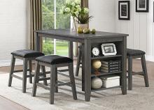 Homelegance 5603-36-24-5PC 5 pc Canora grey timbre wire brush grey finish wood counter height dining table set with shelf