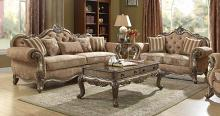 Acme 56030-31 2 pc Rosdorf park lorentz ragenardus vintage oak finish wood brown fabric tufted sofa and love seat set