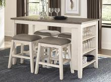 Homelegance 5603WW-36-24-5PC 5 pc Canora grey timbre two tone antique white rosy brown finish wood counter height dining table set with shelf