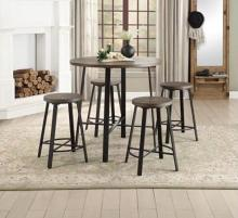 "Homelegance HE-5607-36RD 5 pc Chevre dark metal legs 36"" round top counter height dining table set"