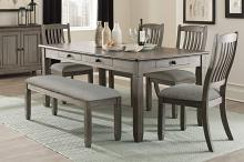 Homelegance 5627GY-72-6PC 6 pc Willow bend antique gray and coffee finish wood dining table set with bench