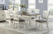Homelegance 5627NW-72-7PC 7 pc Willow bend antique white rosy brown finish wood dining table set