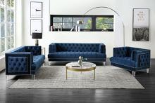 Acme 56455-56 Astoria Grand ansario blue tufted velvet fabric and nail head trim sofa and love seat set
