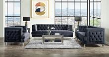 Acme 56460-61 Astoria Grand ansario charcoal tufted velvet fabric and nail head trim sofa and love seat set