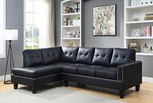 Acme 56465 2 pc Darby home co Jeimmur black faux leather sectional sofa with tufted back