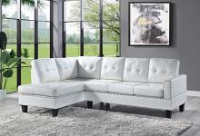 Acme 56470 2 pc Darby home co Jeimmur white faux leather sectional sofa with tufted back