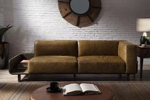 Acme 56500 Astoria Grand Blanca chestnut top grain leather and rustic oak finish mid century modern sofa