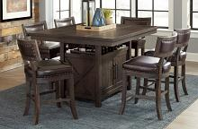 Homelegance 5655-36-24 7 pc Darby home co oxton distressed cherry finish wood leatherette padded seats dining table set