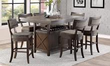 Homelegance 5655-36-24FA 7 pc Darby home co oxton distressed cherry finish wood fabric padded seats dining table set