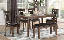 Homelegance 5658-6PC 6 pc Canora grey salton cherry finish wood dining table set with bench