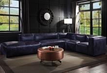 Acme 56595-96-97-98 5 pc Rosdorf park Birdie vintage blue top grain leather modular sectional sofa