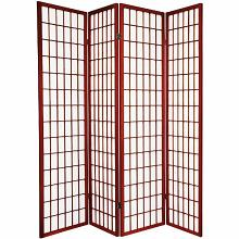 Asia Direct 566-4 4 panel cherry finish wood rice paper room divider shoji screen