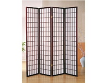 4 panel cherry finish room divider shoji screen