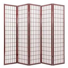 Asia Direct 566-5 5 panel rice paper center cherry finish room divider shoji screen