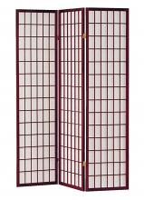 Asia Direct 566 3 panel cherry finish wood rice paper room divider shoji screen