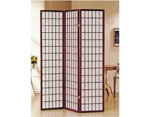 3 panel cherry finish room divider shoji screen