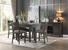 5 pc Baresford gray finish wood fabric padded seats counter height dining table set