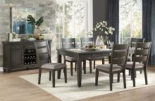 7 pc Baresford gray finish wood fabric padded seats dining table set