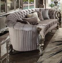 "Acme 56845 Astoria Grand bermuda versailles antique platinum finish wood carved accents 109"" sofa"