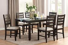 Homelegance 5709-7PC 7pc Canora grey Blair brown finish wood dining table set fabric chairs