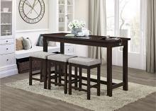 5713ES 4 pc Topline baresford espresso finish wood padded seats counter height dining table set