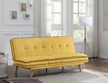 Acme 57160 Corrigan studio fillingham savilla yellow fabric adjustable sofa futon bed