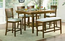 Homelegance 5716RFAK-36-S1-6PC 6 pc Darby home co Balin light oak finish wood counter height dining table set with bench